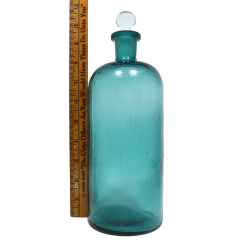 "Antique GLASS APOTHECARY JAR Teal Blue-Greenish 9-3/8"" DRUG BOTTLE with Stopper!"