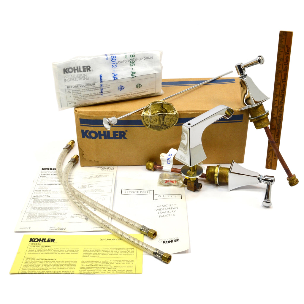 New in Box KOHLER MEMOIRS WIDESPREAD LAVATORY FAUCET Polished Chrome ...