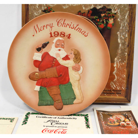 "Excellent COCA COLA ""MERRY CHRISTMAS 1984"" PLATE Second Annual No. K21223 in Box"
