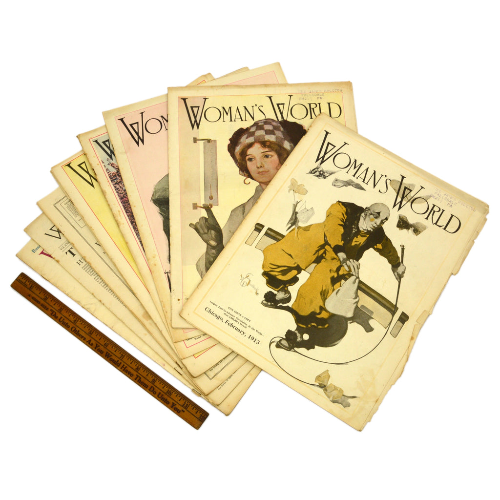 "Antique ""WOMAN'S WORLD"" BACK-ISSUE MAGAZINE Lot; 9 Issues from 1913, w/ 7 COVERS"
