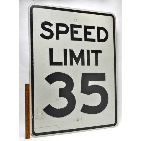 "Vintage STEEL ""SPEED LIMIT 35"" STREET SIGN 24x30 Road/Traffic 'MPH' SIGNAGE Real"