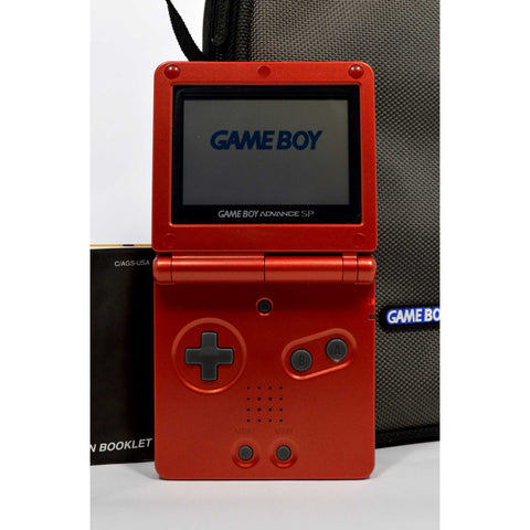 Tested Good! NINTENDO GAME BOY ADVANCE SP Mo. AGS-001 RED + AC Adapter & Case!!