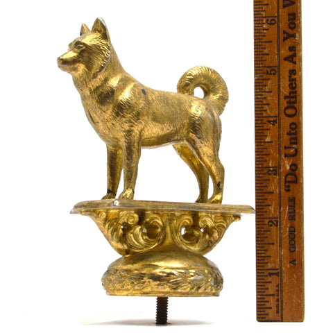 "Vintage BRASS DOG FINIAL/ORNAMENT by GLADYS BROWN for DODGE MFG. CO, NJ ""1950-1"""
