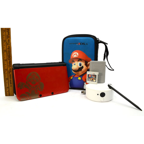 Briefly Used NINTENDO 3DS XL Limited Edition SUPER MARIO BROS 2 Red + NFC READER