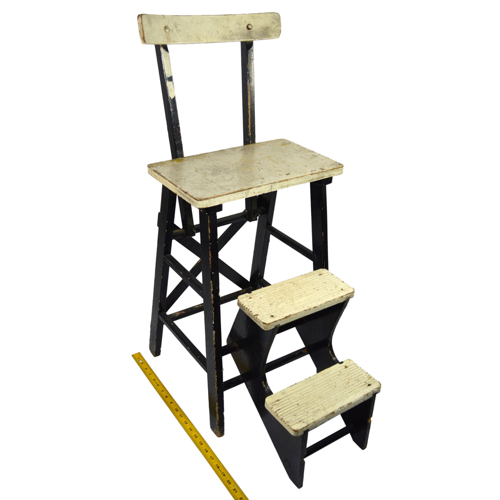 Vintage KITCHEN STEP STOOL CHAIR Wood Chair w/ 2 FLIP-OUT STEPS Old ...