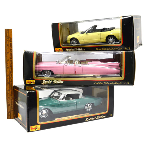 Lot of 3! MAISTO DIECAST CARS 1:18 Scale PINK CADILLAC Studebaker & THUNDERBIRD!