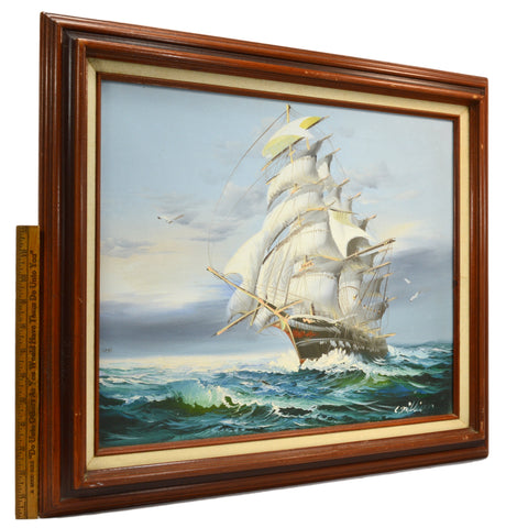 "Vintage ORIGINAL ART Oil Painting on Canvas SIGNED ""C. MILLION"" Seascape CLIPPER"