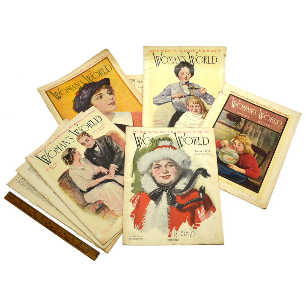 "Antique ""WOMAN'S WORLD"" BACK-ISSUE MAGAZINE Lot; 9 Issues from 1914, w/ 6 COVERS"