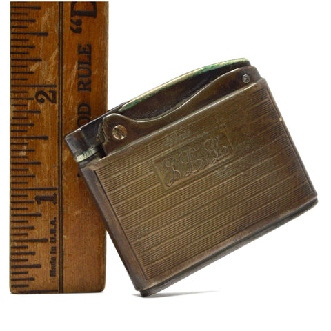 Vintage RONSON ADONIS Automatic STERLING SILVER LIGHTER in Old Pouch *ENGRAVED*
