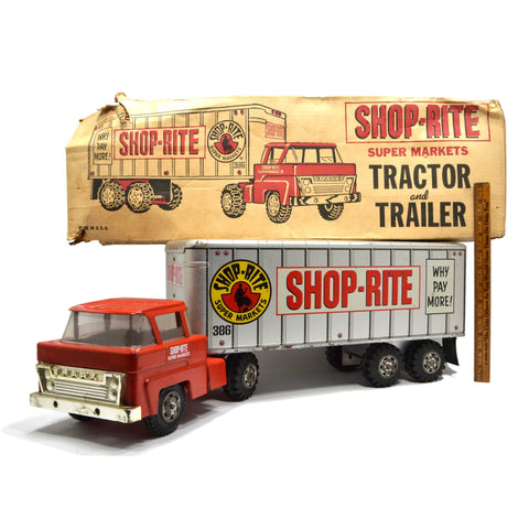 Vintage SHOP-RITE TRACTOR TRAILER TRUCK Pressed Steel GROCERY STORE SEMI + Box!!