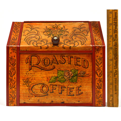 "Vintage TIN ""ROASTED COFFEE"" BIN Country / General Store SPICE CONTAINER Unique!"