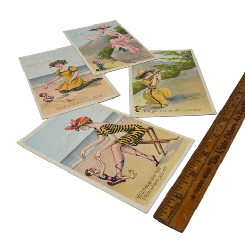 "Antique Advertising POST CARD Lot of 4 ""SUMMER GIRLS SERIES"" c.1910 Pretty Women"
