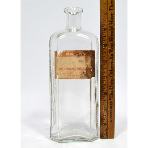 "Vintage POISON BOTTLE 8"" Clear HENRY K. WAMPOLE w/ LARISON PHARMACY Paper Label"