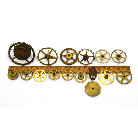 VTG/Antique CLOCK GEAR LOT OF 16 Brass Gears SALVAGED PARTS/PIECES Nice Variety!