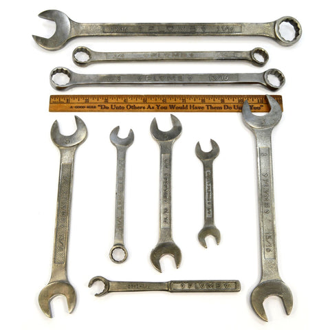 Vintage PLUMB/PLOMB OPEN, BOX-END & COMBINATION WRENCH Lot of 9 Pebble Wrenches