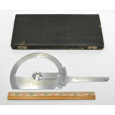 "Antique METAL PROTRACTOR by ""T. ALTENEDER PHIL'A"" Drafting Tool in ORIGINAL CASE"