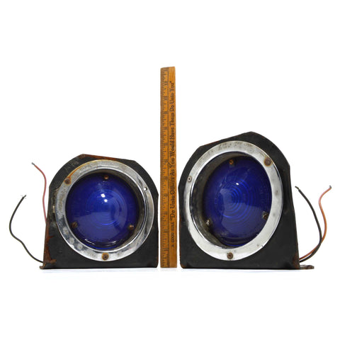 Vintage PAIR AUTOMOTIVE LIGHTS SIGNAL-STAT No. 3603 w/ COBALT BLUE LENSES c.1976