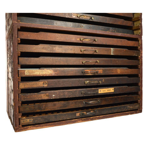 Antique HOMEMADE PRINTERS CABINET w/ 16 HAMILTON DRAWERS Inverted Ads SO UNIQUE!