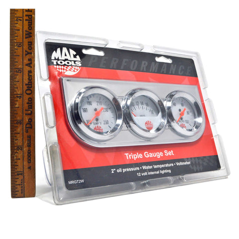 "New! MAC TOOLS ""TRIPLE GAUGE SET"" No MRGT2W 2"" Oil Pressure WATER TEMP Voltmeter"