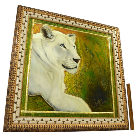 "Original Print JUERGEN ALDAG Mixed Media Painting ""SARMOTI"" WHITE LION Very Rare"