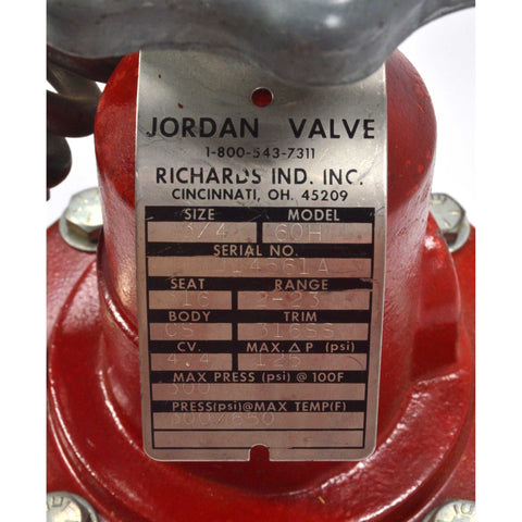 "New/Never Used JORDAN VALVE Mo. MK60H, 3/4"" by RICHARDS IND. INC. with Handwheel"