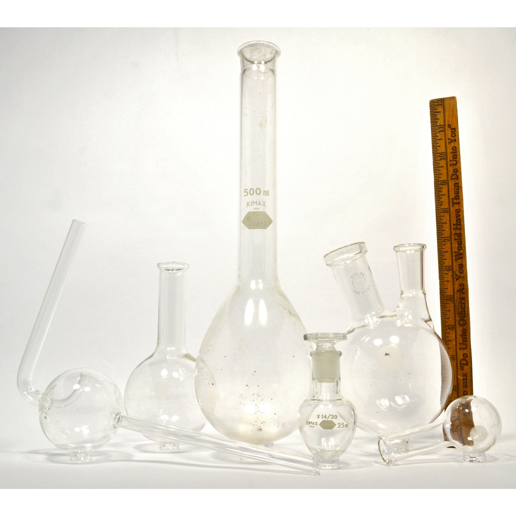 Mixed PYREX & KIMAX LAB GLASS Lot of 6 ROUND-BOTTOM FLASKS Pear 2-NECK –  Get A Grip & More