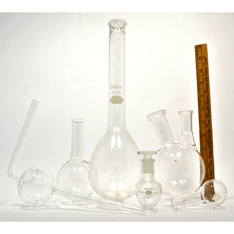 Mixed PYREX & KIMAX LAB GLASS Lot of 6 ROUND-BOTTOM FLASKS Pear 2-NECK Florence+