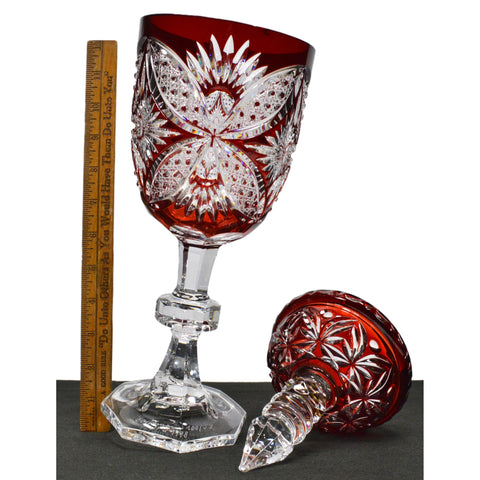 "Vintage RUBY RED 'CUT-TO-CLEAR CRYSTAL' GOBLET Signed ""BARTHMANN 1978 100/53"""