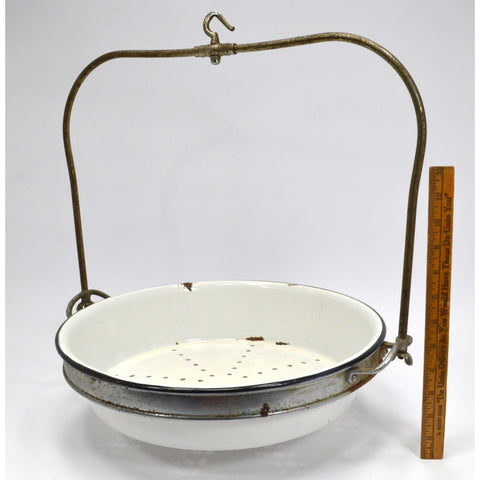 VTG/Antique PORCELAIN PRODUCE TRAY-PAN-BOWL for Hanging Scale with HOOK & FRAME!