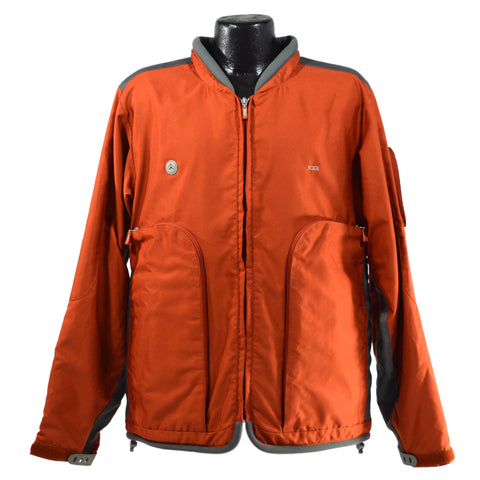 Briefly Used TUMI TRAVEL JACKET Size: Medium BURNT ORANGE & GRAY w/ Huge Pockets