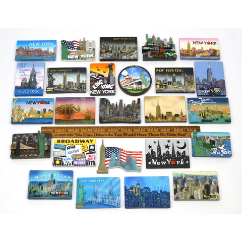Lot of 26 NEW YORK-NYC POLY-RESIN FRIDGE MAGNETS Refrigerator Magnet NO DOUBLES!