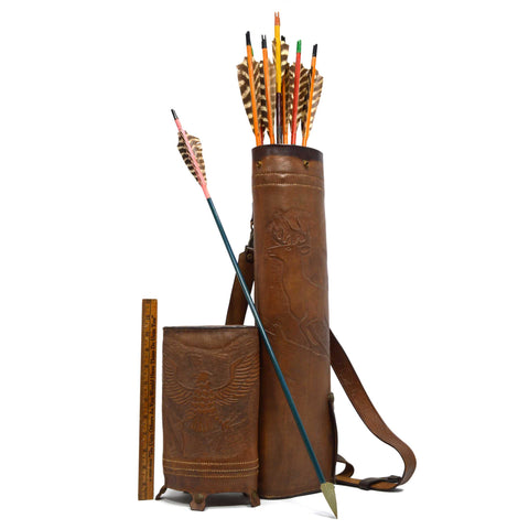 Vintage HAND-TOOLED LEATHER BACK-QUIVER + 8 ARROWS Deer/Buck & Eagle FRED BEAR?