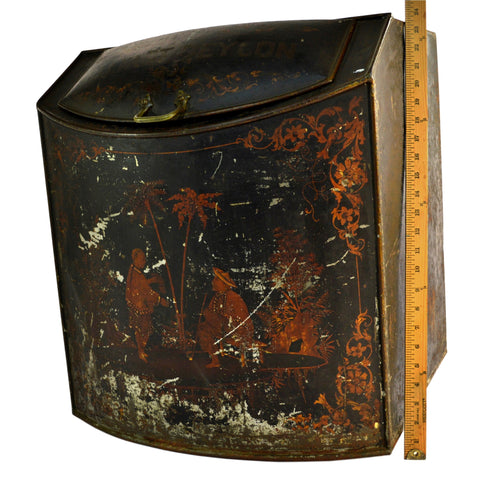 "Antique ""BELFAST CEYLON"" TEA BIN Japanned & Litho LARGE STORE CONTAINER So Rare!"