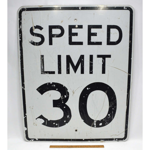 "Vintage STEEL ""SPEED LIMIT 30"" STREET SIGN 24x30 Road/Traffic 'MPH' SIGNAGE Real"
