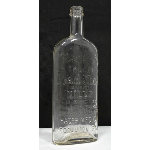 "Vintage GLASS BUG POISON BOTTLE Clear ""DR TRAGER'S DEAD SHOT"" Scranton, PA Nice!"
