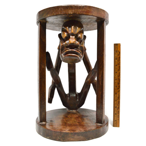 "Vintage CARVED HARDWOOD TRIBAL PLANT STAND or 16"" ACCENT TABLE Long-Neck Monster"