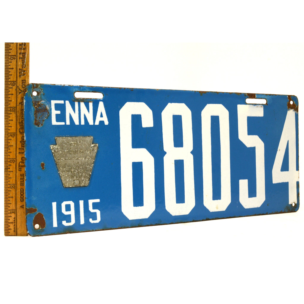 Antique 1915 PENNSYLVANIA LICENSE PLATE Porcelain Tag No. 68054 BRILLIANT MFG CO