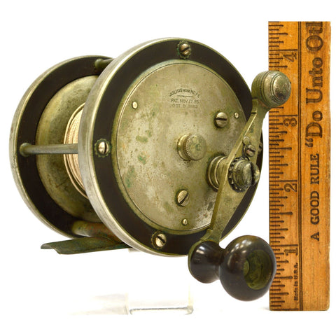 "Vintage JULIUS VOM HOFE 1/0 FISHING REEL 3.25"" German Silver & Hard Rubber? RARE"