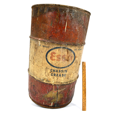"Vintage ESSO ""CHASSIS GREASE"" DRUM ""100 Pounds"" Barrel/Can 24""T x 14"" dia PATINA"