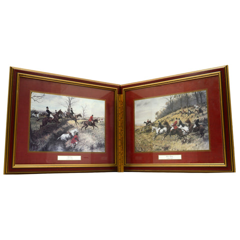 "Lot of 2 FRAMED ""GEORGE WRIGHT"" PRINTS Equestrian Hunt ""FULL CRY"" & ""GONE AWAY"""