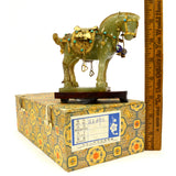 Antique CHINESE CARVED JADE HORSE Gold-Gilt & Enamel JEWELED SADDLE-BRIDLE + Box