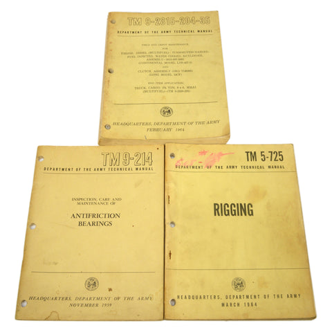 Vintage ARMY TECHNICAL MANUAL Lot of 3 Maintenance Manuals DIESEL ENGINE Rigging