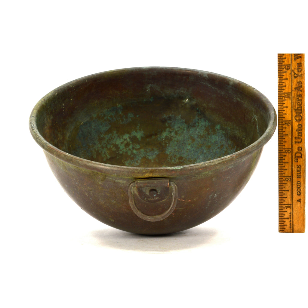 "Antique 8.5"" COPPER MIXING BOWL Single Ring MARKED ""ENGLAND"" Candy Making PATINA"