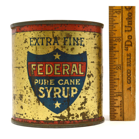 "Antique ""PURE CANE SYRUP"" TIN CAN by FEDERAL SUGAR REFINING CO Yonkers, NY Rare!"