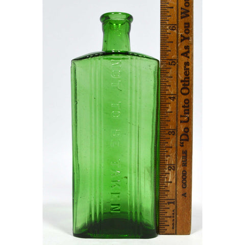 "Antique GLASS POISON BOTTLE 6-3/8"" Emerald Green ""NOT TO BE TAKEN"" European NICE"