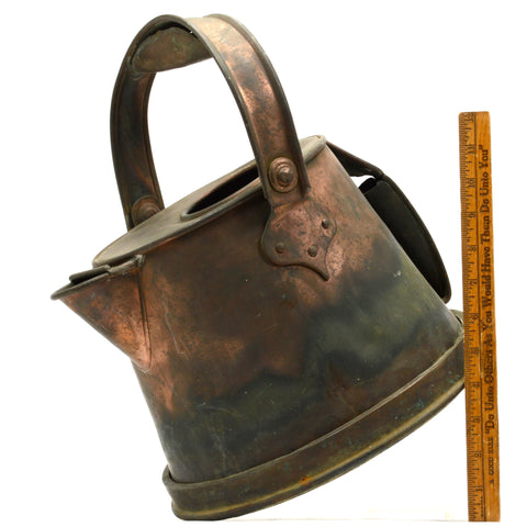 Antique CRUDE COPPER JUG Primitive FRENCH KETTLE Watering Can ODD BUCKET Patina!