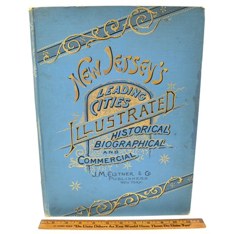 Antique Hardcover Book NEW JERSEYS LEADING CITIES ILLUSTRATED Elstner & Co, 1889
