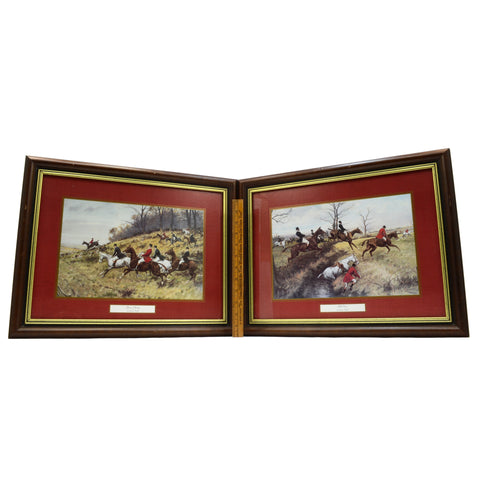 "Lot of 2 FRAMED ""GEORGE WRIGHT"" PRINTS Equestrian Hunt ""GONE AWAY"" & ""FULL CRY"""