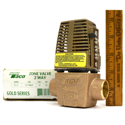 "New in Box! TACO ZONE VALVE 2-Way Mo. 571-2 GOLD SERIES 3/4"" Sweat, 24V, 125 PSI"
