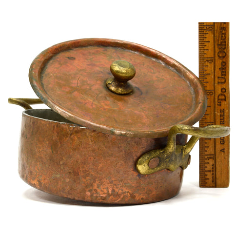 "Antique COPPER & TIN BRAISING PAN Single-Serve 5"" BOWL w/ LID & 2 Brass Handles!"